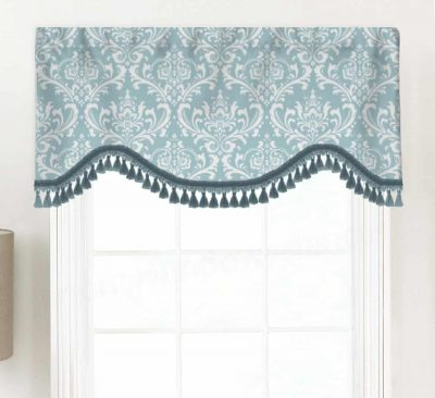 Ozbourne (Damask Print) Shaped Valance Curtain