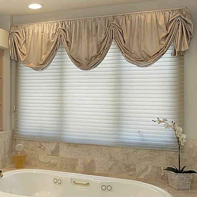 Ivory Solid Valance Curtain in Bathroom