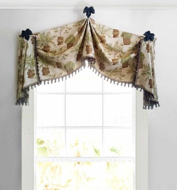 Tan Valance in Arched Shape, Raised