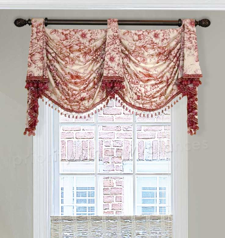 Red Tab Top Valance Curtain