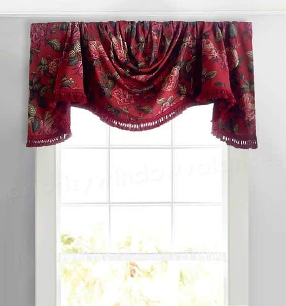 Custom Swag Valance Curtain in Red