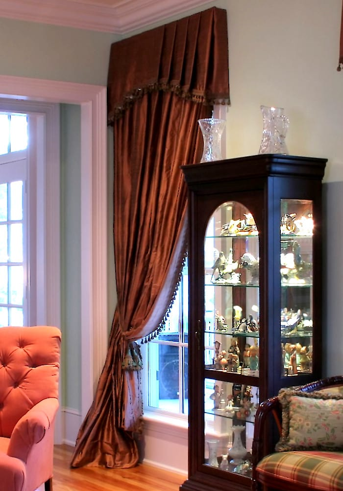 Double Wide Silk Drapery with Matching Custom Valance