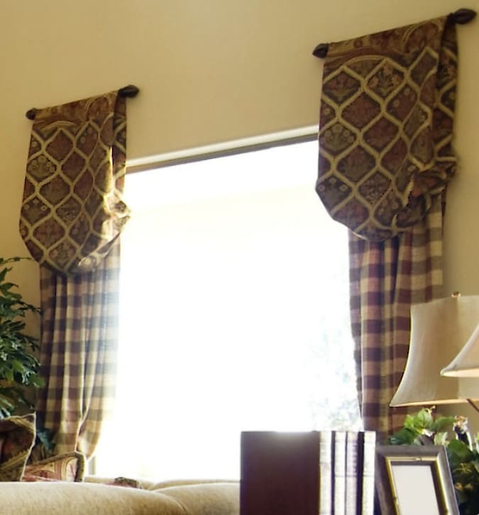 Ideas of Custom Drapery Treatments with Attached Valances