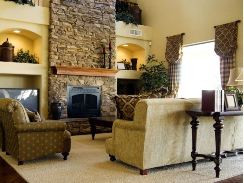 Traditional Drapery in Two Story Living Room
