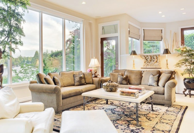 Neutral Asian Living Room with Cream Roman Shades